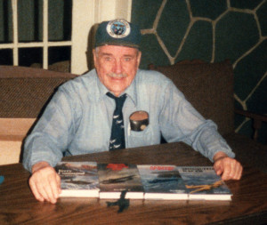 Captain Don McVicar with four of his Airlife books at a book launch in 1986 at the Royal Canadian Legion, Dorval, Quebec.